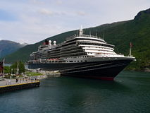 Flam-port. Norway-view of the pier Flam with anchored ships and Aurlandsfjorden Royalty Free Stock Photos