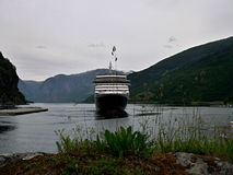 Flam-port and Aurlandsfjorden Royalty Free Stock Images