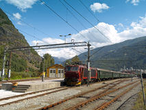 Flam Railway. The Flam Line (Norwegian: Flamsbana) is a branch line of the Bergen Line which runs between Myrdal and Flam in Aurland, Norway. Because of the line Royalty Free Stock Photos