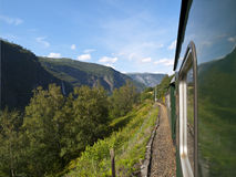 Flam Railway. The Flam Line (Norwegian: Flamsbana) is a branch line of the Bergen Line which runs between Myrdal and Flam in Aurland, Norway. Because of the line Royalty Free Stock Photography