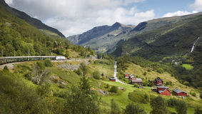 Flam railway landscape. Norwegian tourism highlight. Norway land. Mark. Horizontal stock photos