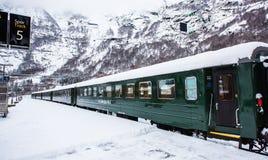 Flam Railway. Flam, Norway - December 28, 2014: Station old Flam Railway. The Flam Line (Norwegian: Flamsbana) is a 20.2-kilometer long railway line between Stock Image