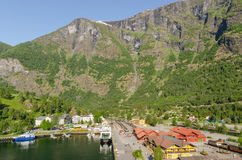 Flam. Sightseeing view of Flam harbour with train station. Norway Stock Photography