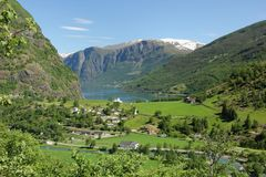 Flam. The small village of Flam at the end of the Aurlandsfjord in Norway Stock Photos