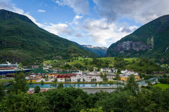 Flam town aerial view, Norway. Royalty Free Stock Photography