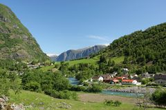 Flam. A view down the Flam valley toward the village of Flam, Norway Stock Photos