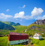 Flam village with colorful houses in Norway Stock Images