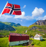 Flam village with colorful houses in Norway Stock Image