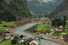 Flam. The village of Flam laying on the banks of the river Flam in Norway Stock Photo