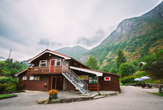 Flam Village In Norway. Wooden Guest House Royalty Free Stock Images