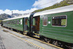 Flam wagon train in Norway. Norwegian tourism highlight. Railway stock photo