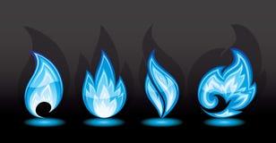 Flama azul ilustração royalty free