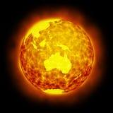 Flama caliente de la tierra del globo aislada libre illustration