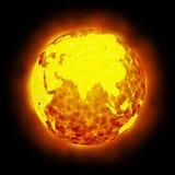 Flama caliente de la tierra del globo aislada ilustración del vector