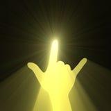 Flama de la luz del sol del gesto de mano de la música rock stock de ilustración
