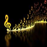 Flama de notas musicais Imagens de Stock Royalty Free