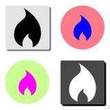 Flama do incêndio Ícone liso do vetor ilustração stock