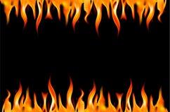 Flama do incêndio em um fundo preto. ilustração stock