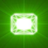 Flama ligera que brilla intensamente cortada gema esmeralda ilustración del vector
