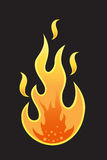 Flama quente no fundo preto Imagens de Stock Royalty Free