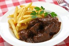 Flamande Carbonade, фламандское тушёное мясо говядины, бельгийская кухня Стоковое Изображение