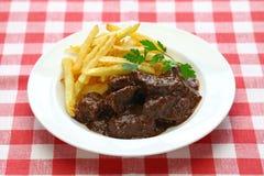 Flamande Carbonade, фламандское тушёное мясо говядины, бельгийская кухня Стоковое фото RF