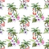 Flamant avec des paumes et des fleurs Photo stock