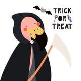 Flamant mignon dans le costume de Halloween illustration stock