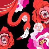 Flamant rouge graphique parmi des roses Photos stock
