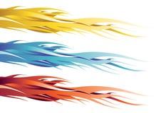Flamas amarelas, azuis e vermelhas ilustração stock