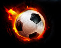 Flamas da esfera de futebol Fotos de Stock Royalty Free