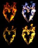 Flamas dadas forma coração Foto de Stock Royalty Free