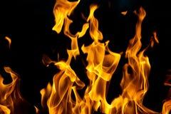 Flamas do incêndio em um fundo preto Fotografia de Stock Royalty Free