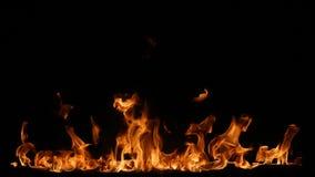 Flamas do incêndio no fundo preto Fotos de Stock Royalty Free