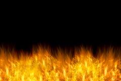 Flamas do incêndio no fundo preto Foto de Stock