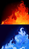 Flamas vermelhas e azuis ilustração stock
