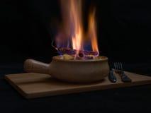 Flambe肉 免版税库存照片