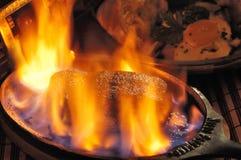 Flambe del filete Foto de archivo libre de regalías
