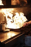 Flambe. Dish made by flambe cooking Royalty Free Stock Image
