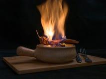 Flambe-Fleisch Stockbild