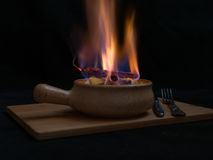 Flambe meat Royalty Free Stock Photo