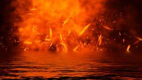 Flambent les recouvrements de texture de flamme du feu sur le fond d'isolement avec la r?flexion de l'eau ?l?ment de conception photo libre de droits