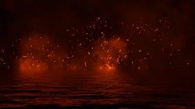 Flambent les recouvrements de texture de flamme du feu sur le fond d'isolement avec la r?flexion de l'eau ?l?ment de conception photos libres de droits