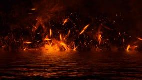 Flambent les recouvrements de texture de flamme du feu sur le fond d'isolement avec la r?flexion de l'eau ?l?ment de conception images stock