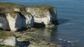 Flamborough Head Sea Cliffs - Yorkshire - England. Sea Cliffs at Flamborough Head on the northeast coast of England stock video footage