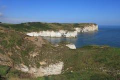 Flamborough huvud som ut ser till havet Arkivbild