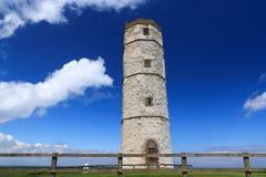 Flamborough Kierownicza Historyczna latarnia morska Obrazy Royalty Free