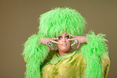 Flamboyant Drag Queen. In boa hat on green background Stock Photography
