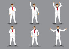 Flamboyant Man in White Suit Vector Cartoon Character Set Royalty Free Stock Photos