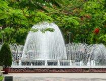 Flamboyant är denna en väg leder till springbrunnen av den Hai Phong medeltalen Arkivfoto